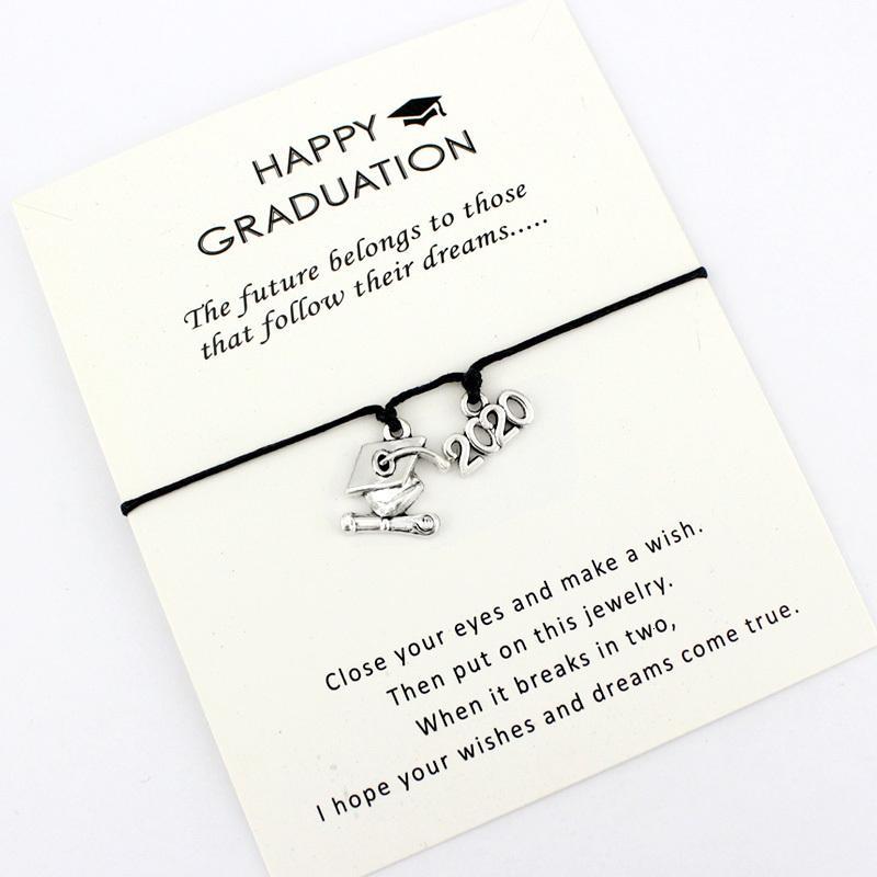 2020 Casquillo de la universidad de graduación Plaza Diploma Senior encanto pulseras Mujer Hombre Niña Niño unisex joyas de moda regalo Amistad