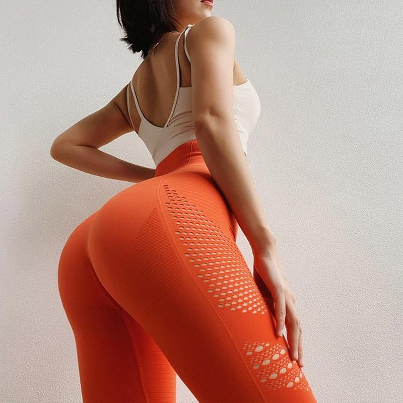 Solid Sports Leggings High Waist Fitness Yoga Pants Women Seamless Long Tights Gym Tummy Control for Running Workout Sexy Butt MX200329