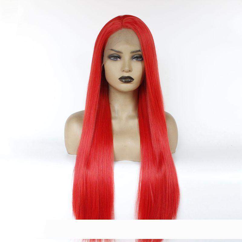 Sexy Cosplay Red Color Long pelucas Silky Straight Synthetic Wigs Heat Resistant Lace Front Wigs f