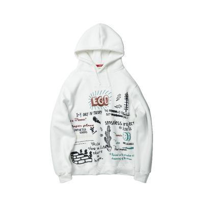 Mens-beiläufige Buchstabedruck Hip Hop lose Hoodies Pullover 2019 neue Art-Art und Weise 3 Farben Hoodies Männlich Kleidung