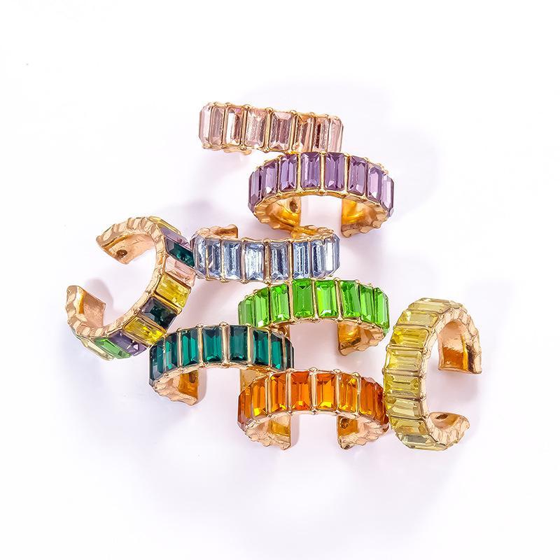 New Zircon Crystal Ear Cuff Clip Double Stud Earrings For Women Jacket Earrings Fine Jewelry