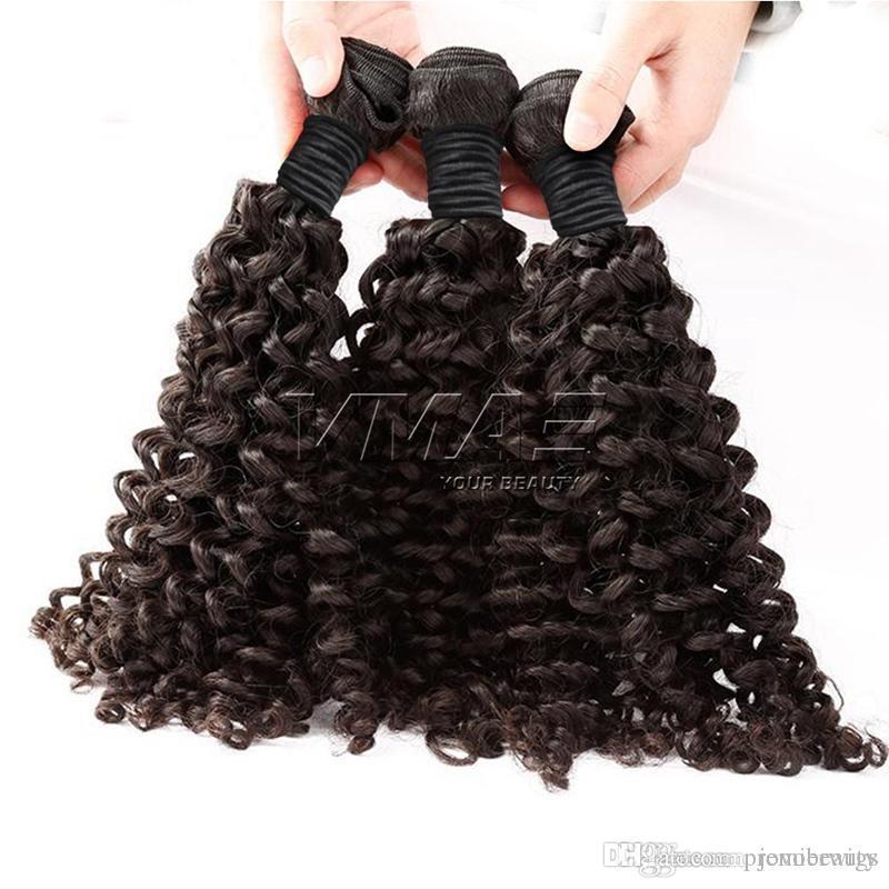 3pcs / lot profonda dei capelli ricci di trama tessuto brasiliano di 100% Peruvian malese indiano Vergine Lordo estensioni dei capelli umani sacchetto di OPP