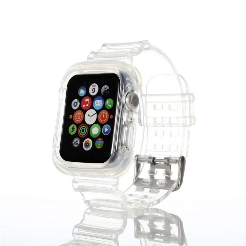 Clear TPU Watch Band Case Cover for Apple Watch 44/42mm iWatch 5 4 3 2 Transparent Strap Bracelet Sport Wrist Belt