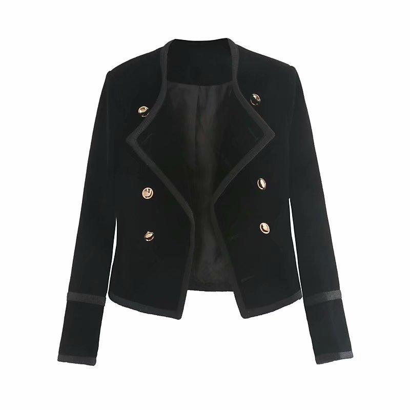 WT101 Autumn Women Chic Black Color Double Breasted Velvet Jacket Ladies Fashion Short Design Jackets outwear