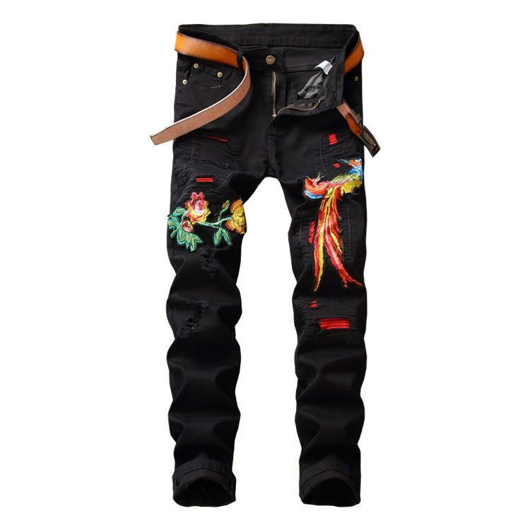 Fashion New Hip Hop Embroidery Ripped Biker Pants Trousers Casual Straight White Red Green Denim Jeans
