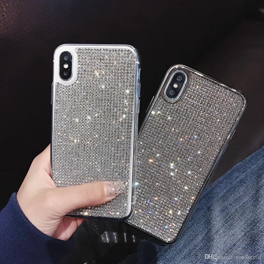 ترف بلينغ الهاتف القضية غطاء كريستال لماع الماس للآيفون 6 S 7 7plus 8 8plus X 10 XR XS ماكس