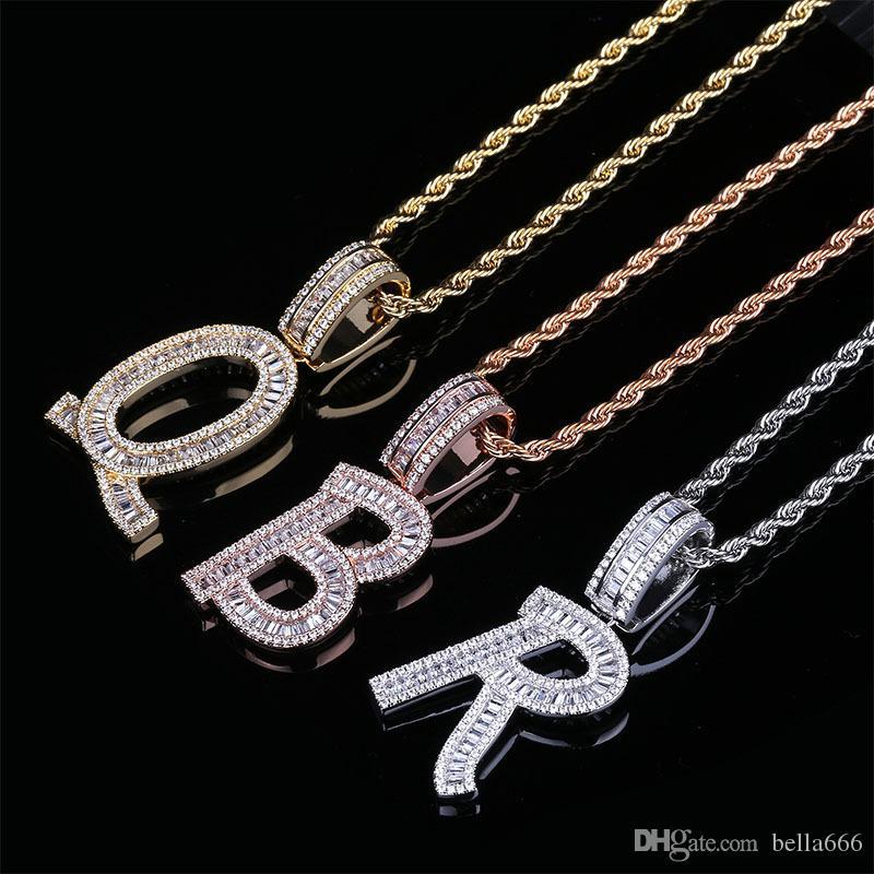 Заказные 26 букв английского алфавита ожерелье Асфальтовая Полный Цирконий площади Письмо ожерелья Hiphop ювелирных изделий Аксессуары для влюбленных