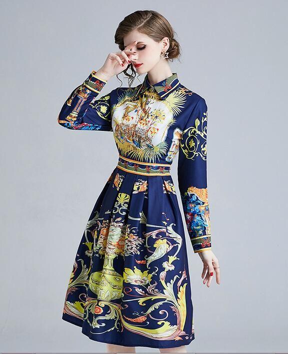 Scarf Flora printed navy blue women blouses long sleeve lapel neck single breasted Waist shirt dresses A-line Knee-Length
