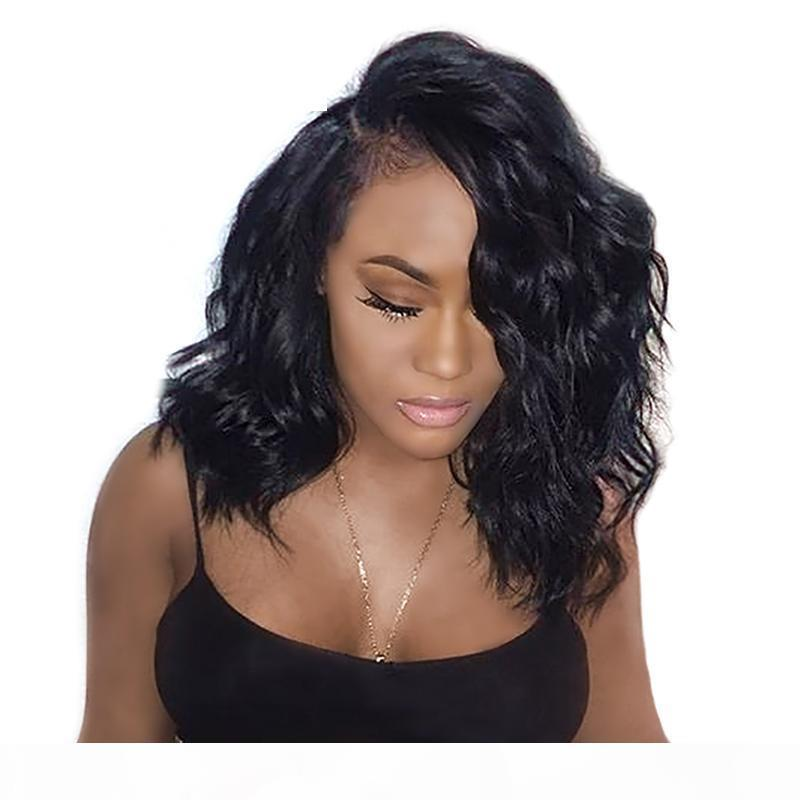 Silk Top Full Lace Bob Wig Virgin Brazilian Human Hair Glueless Bobs Short Wavy Front Bob Silk Base Lace Wigs For Black Women