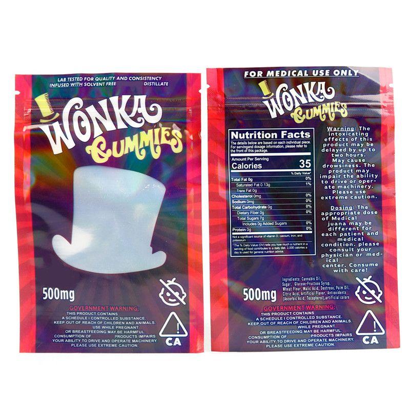 드라이 허브 담배 꽃 Resellable에 대한 Wonka의 gummies 마일 라 가방 500mg을 먹을 거 천지 지퍼 파우치 Smeproof 저장 소매 가방