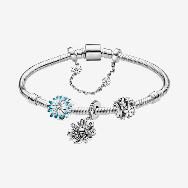 Gchic 2020 Nova Chegada Flor de margarida azul fresca Bracelete De Cobra conjunto para enfeites enfeites mulheres presentes elegantes jóias