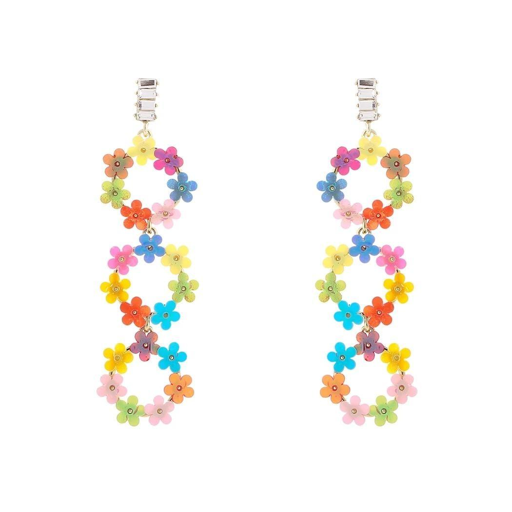 925 Silver Stud Summer Colorful Small Flower and Star-Shaped with Full Rhinestone Drop Dangle Earrings for Women and Girls Gift