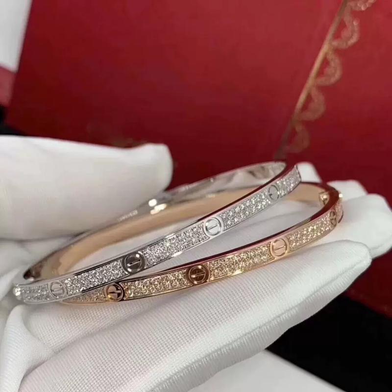 Destornillador de pulsera de lujo de acero inoxidable para la Mujer Mujer Dos Fila Zirconia Piedra brazaletes de oro / plata / color oro rosa