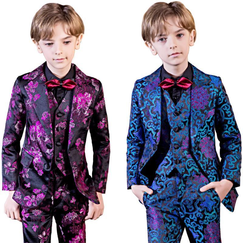 YuanLu 5PCS Blazer Kids Suit For Boy Formal Costume Outfit Baby Clothes British Style For Party Wedding Prince