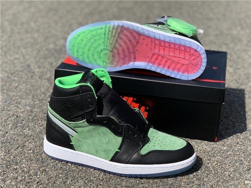2020 Новый Air 1 Высокая Увеличить Ярость Зеленый 3M Reflective Черный физалис овощной Мужчины Баскетбол обувь Спорт на открытом воздухе кроссовки с оригинальным Box