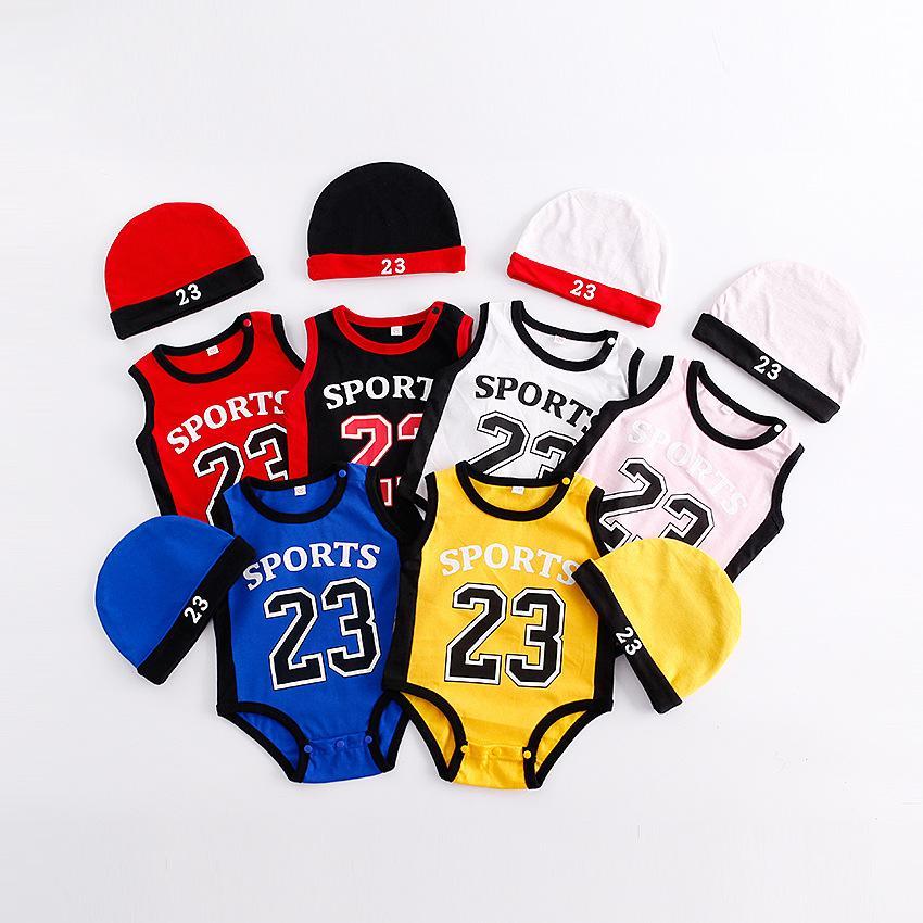Abbigliamento bambino bambino abbigliamento pagliaccetto ragazza pallacanestro 23 stampa manica corta tuta con cappello 100% cotone estate rampicante vestiti