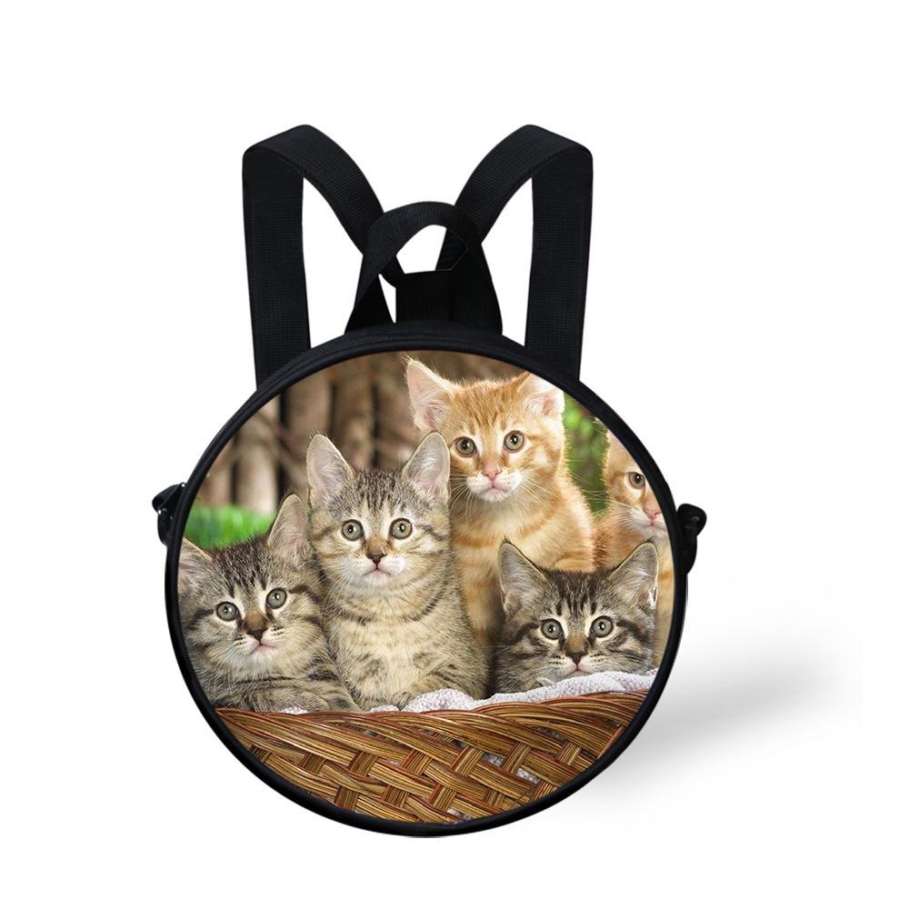 Cute Cats Round Messenger Bag pour les garçons Bébés filles Sacs de Crossbody enfants étudiant Satchel Bookbag bourse Sac à bandoulière