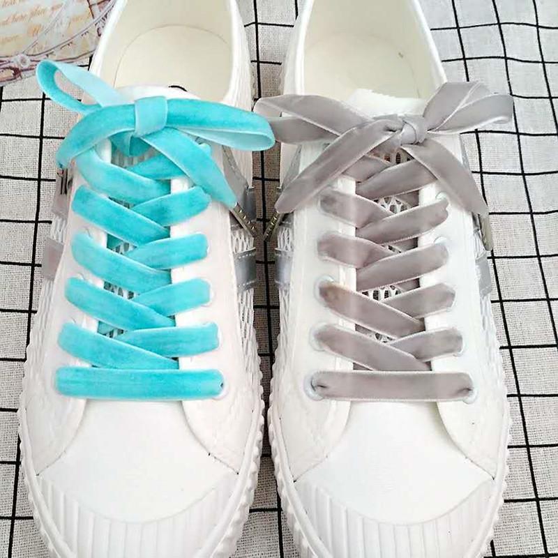 Fashion Velvet Schnürsenkel Frauen-Weinlese Trendy 120cm Boots Schnürsenkel Band One Side Multi Color athletischer Sport-Schuh-Spitze-Strings