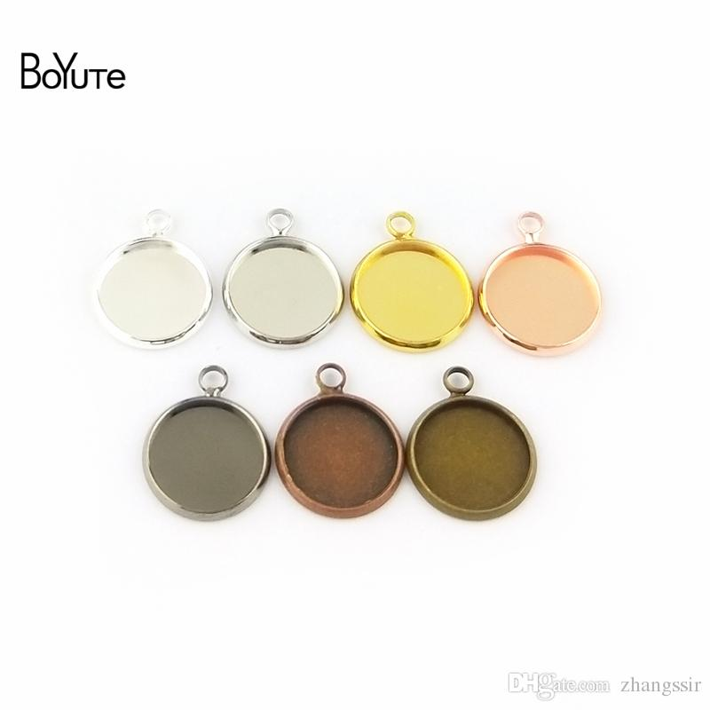 BoYuTe (50 Pieces/Lot) Fit 12MM Cameo Cabochon Base Setting Pendant Blank Bezel Tray Diy Jewelry Accessories