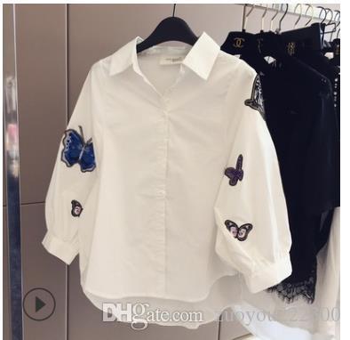 Nova roupa das mulheres coreanas na primavera e no verão de 2019 tridimensional bordado borboleta decorativa bolha manga solta camisa branca