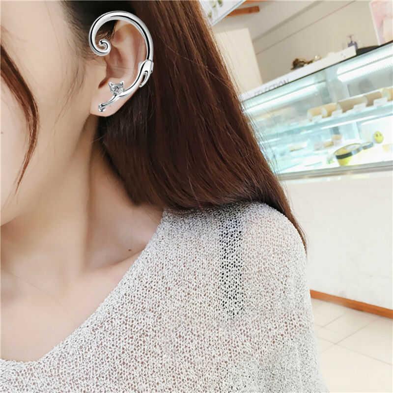 جديد 1 PC Gothic Punk Silver Gold Cat Ear Keep For Women Jewelery Trendy Helix Cat Bite Fake Clip On Wrap Upper Earings Shellhard