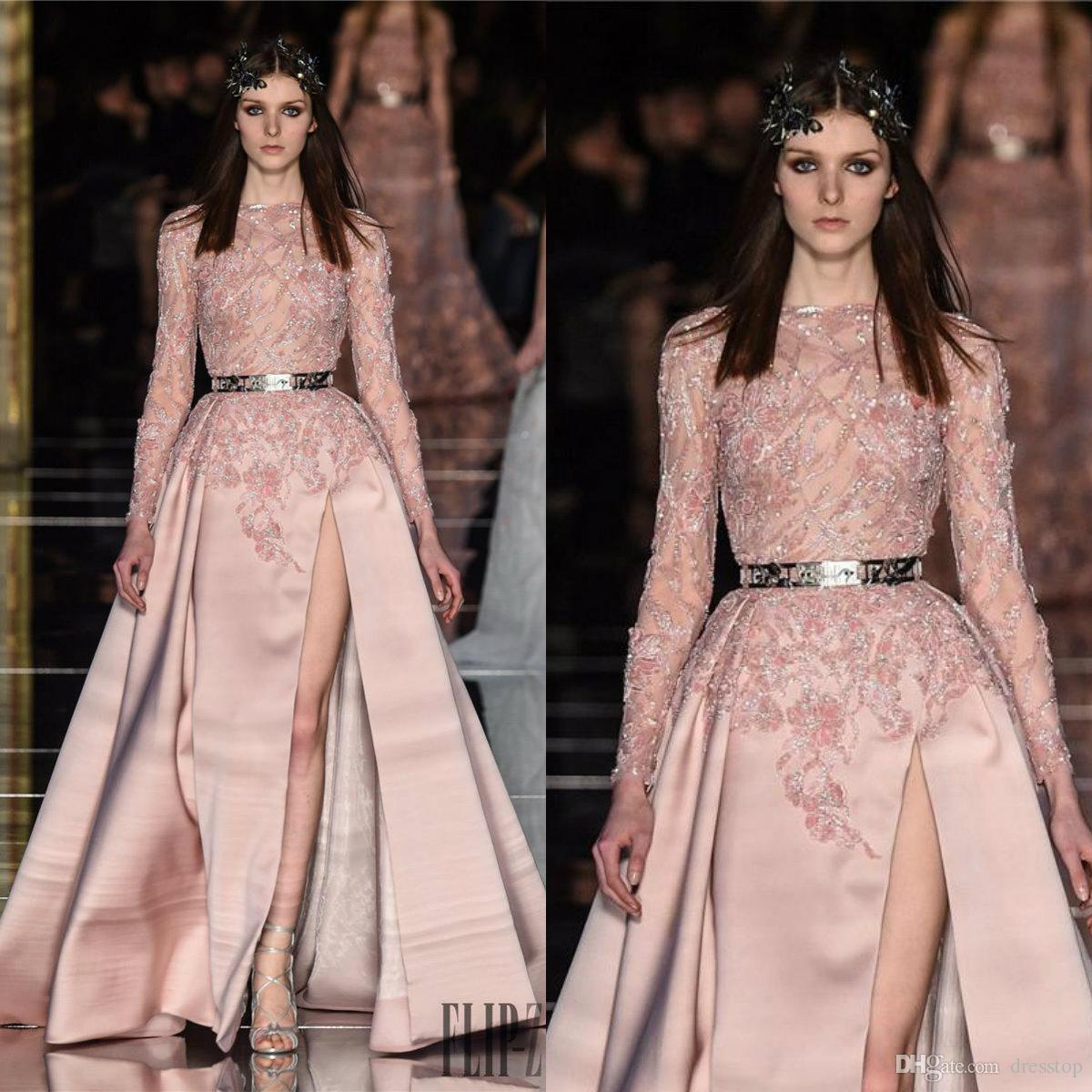2019 Zuhair Murad Split Brautkleider Lange, schiere Bateau-Hals A-Line Perlen Abendkleider Ärmeln Bodenlangen Appliqued Party Kleid für Frauen