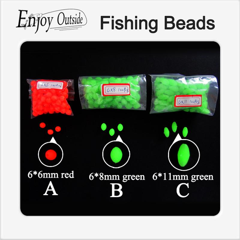300pcs mixed the size Darkness Glow Beads Round Rigs Rigs Making Soft Fishing Beads Soft lure accessory Floating Tackles