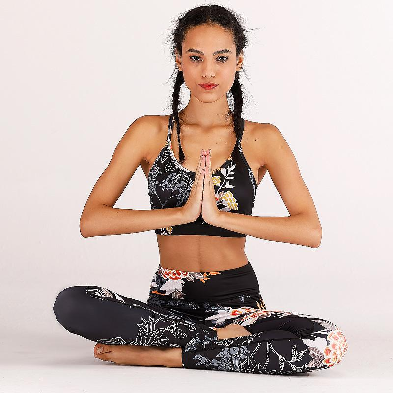 ZC-30 Print Women Yoga Set High Wasit Tracksuit Clothes Sexy Crop Top Slim Fitness Set Mesh Patchwork Womens GYM Outfits