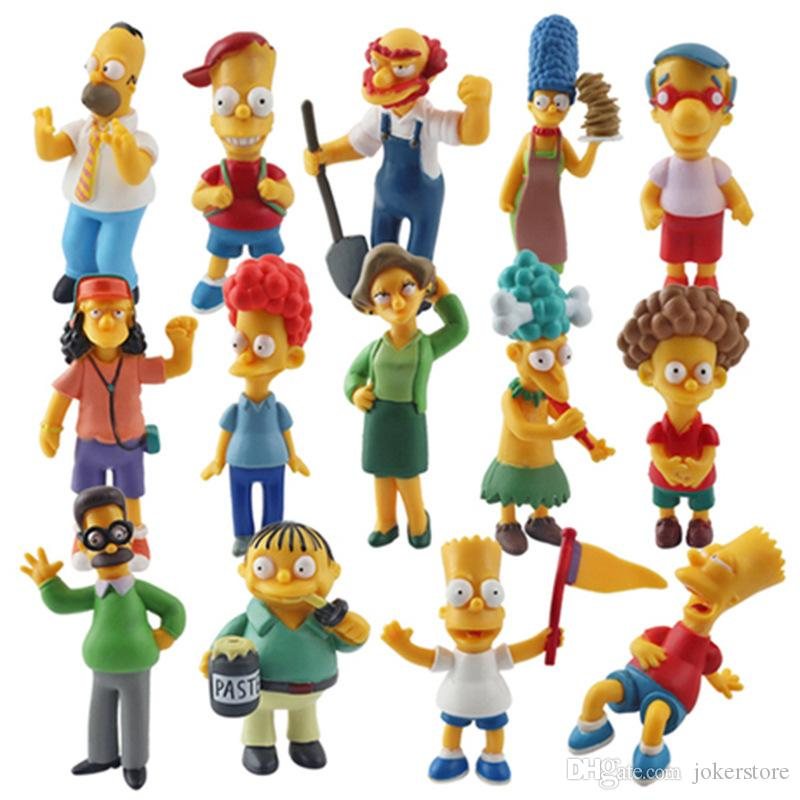 14pcs/set Simpsons Q Version Film Anime Figure Action Figure Collectible Model Hot Toys Birthdays Gifts Doll New Arrvial PVC Free Shipping