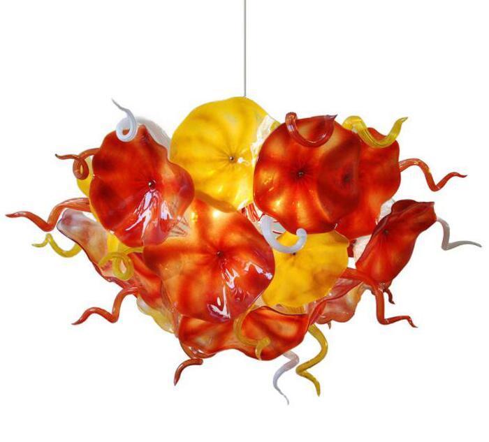 예술 꽃 플레이트 샹들리에 조명 오렌지 노란색 디자인 손 불어 유리 체인 LED 조명기구의 샹들리에