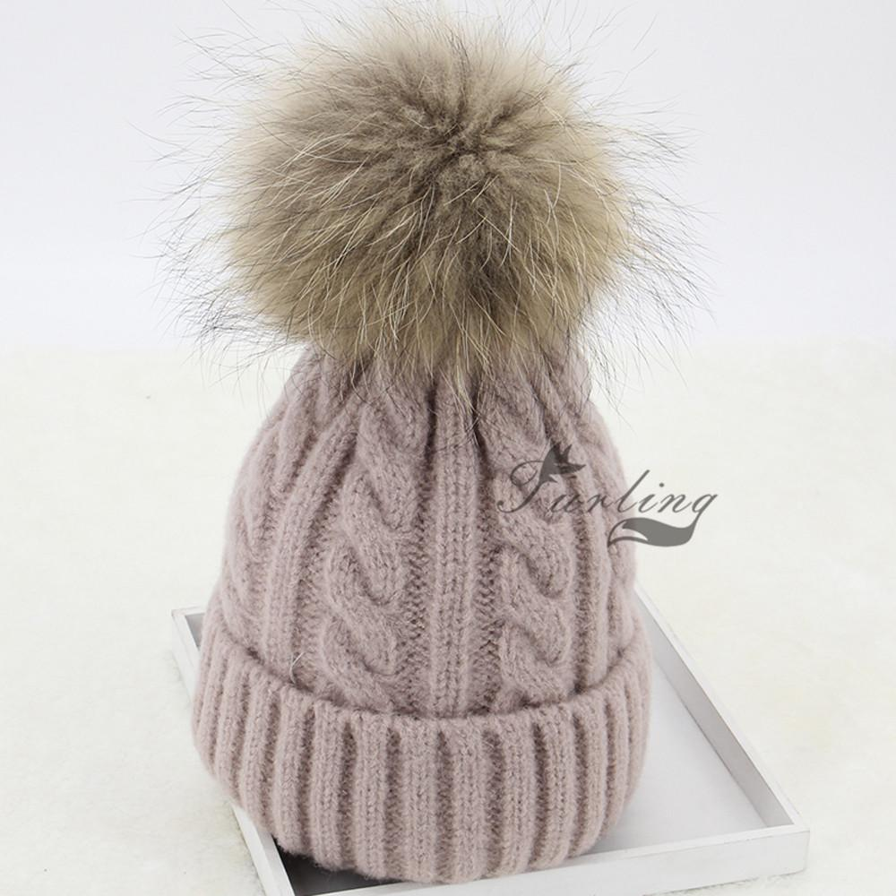 13CM 5.1inch Real Raccoon Fur Pompoms with Press Button for Beanie Hats Caps