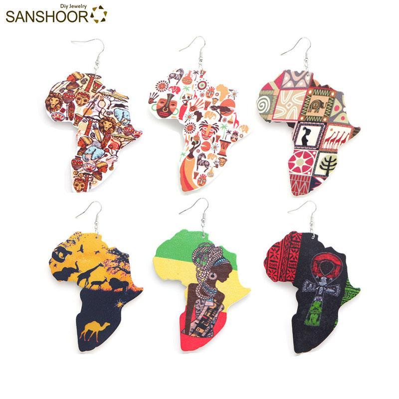 SANSHOOR 맞춤형 혼합 한 쪽 인쇄 동물의 세계 앙크 로그인 아프리카 여성지도 나무 귀걸이 6Pairs