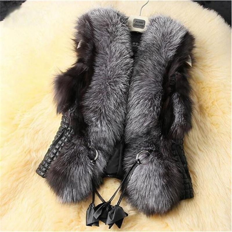Hot Fur 2020 Femme Gilet noir Gilet en fausse fourrure Veste chaude Manteaux d'hiver pour les femmes Colete Feminino Femme Gilet Gilet