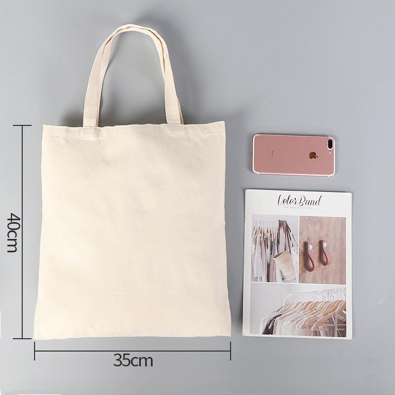 DIY الإعلان التسامي قماش حقيبة صديقة للبيئة فارغة تسوق اليد حقيبة المرأة القطن حقيبة نقل الحرارة الطباعة مخصصة حجم A07