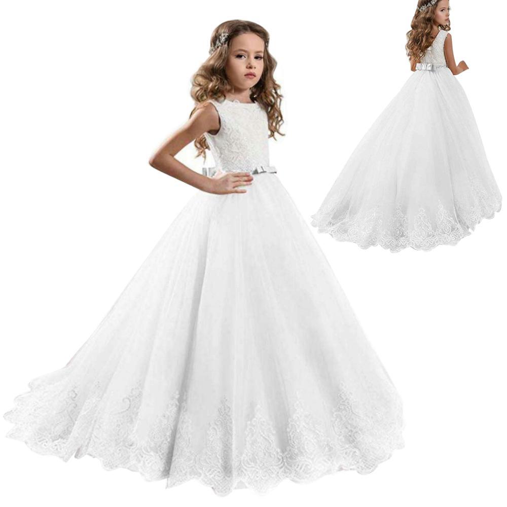 Girls White Wedding Dresses Children Elegant Fancy Sequins Dress Kids Party Prom Gowns TX-10786