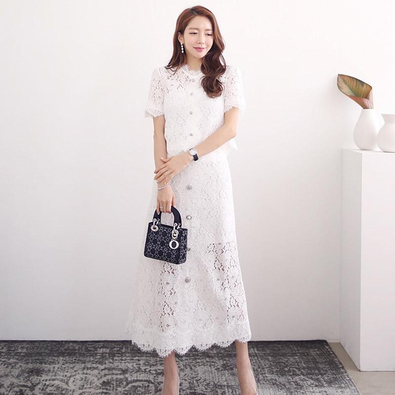 O terno de 4s0hA vVMd5 Mulheres 2020 estilo coreano Verão cintura elegante top de renda de comprimento médio single-breasted Saia Saia Lace skirtlong longo skirttwo-
