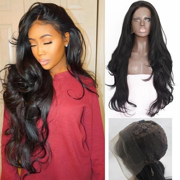 Siyah doğal peruk eğriliği yüksek dereceli kimyasal elyaf ön dantel peruk el kanca siyah peruk