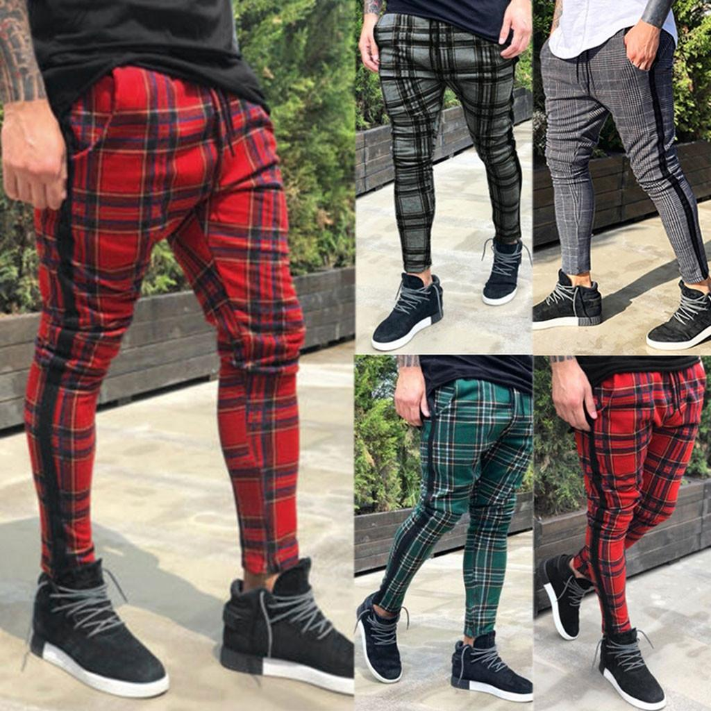 Men's Long Casual Sport Pants Slim Fit Plaid Trousers Running Joggers Sweatpants Long Leisure Streetwear Pantalones de hombreD5