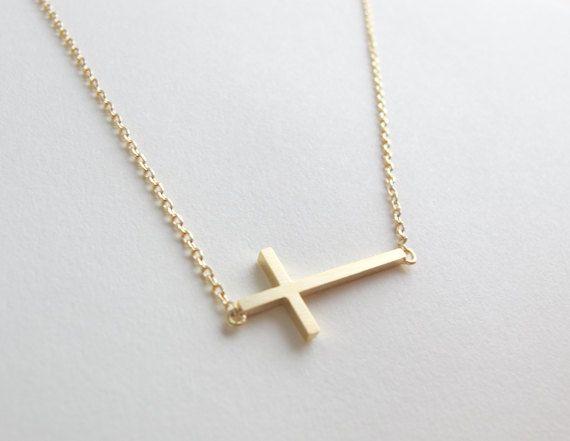 30 geometric Horizontal Sideways Cross religion pendant necklace Simple Tiny Small Cross necklace Faith Christian Cross necklace jewelry