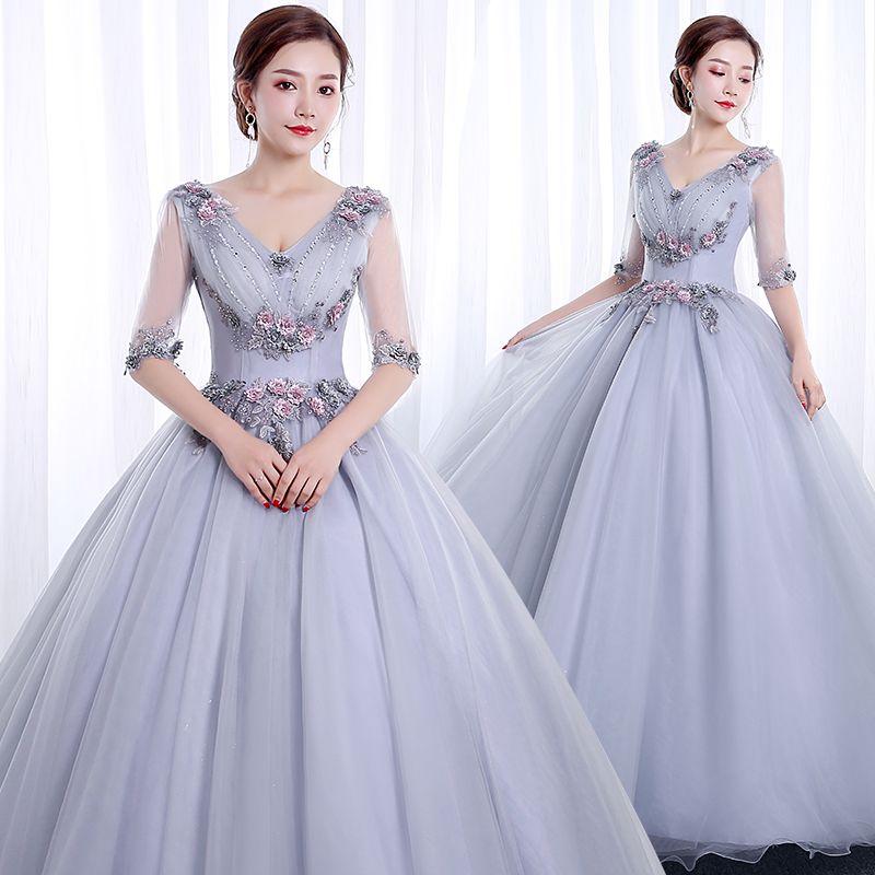 100% echtes silbernes graues halbes hülsen cosplay Gericht mittelalterliches Kleid Renaissance Gown Queen Victorian / Marie / Belle Ball / Drama / Ballkleid