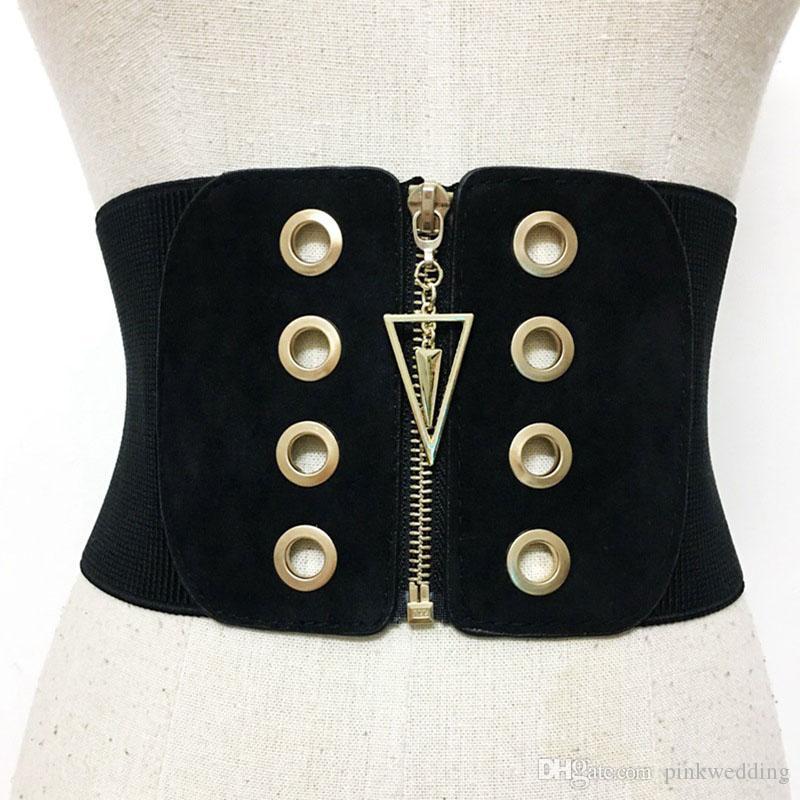 Мода черный эластичный стрейч женские ремни хип-хоп металл молния широкий пояс для женщин панк ремни платье декор