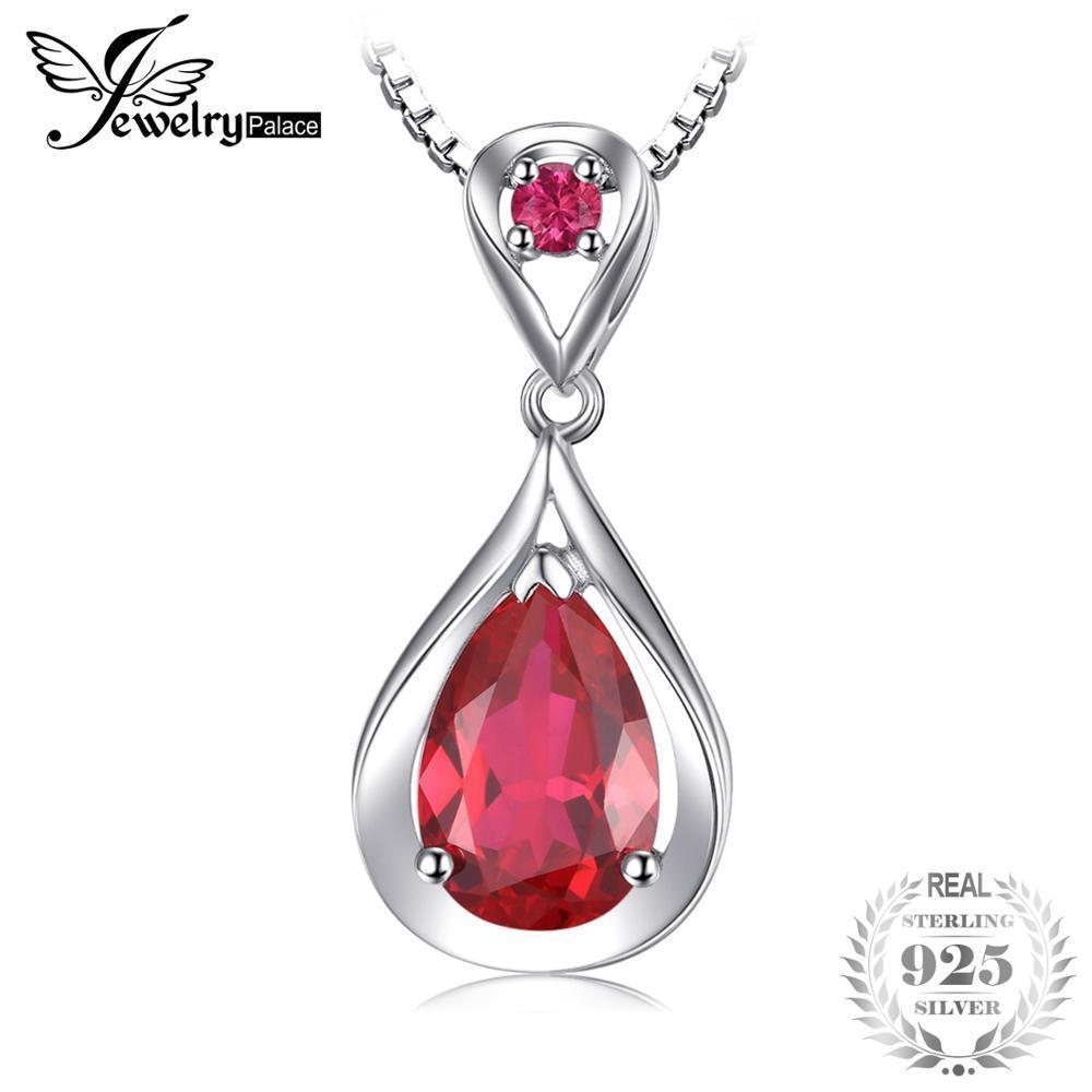 Jewelrypalace Water Drop 4ct Created Red Ruby Pendant Anniversary 925 Sterling Silver For Women Fine Jewelry Without A Chain J190529