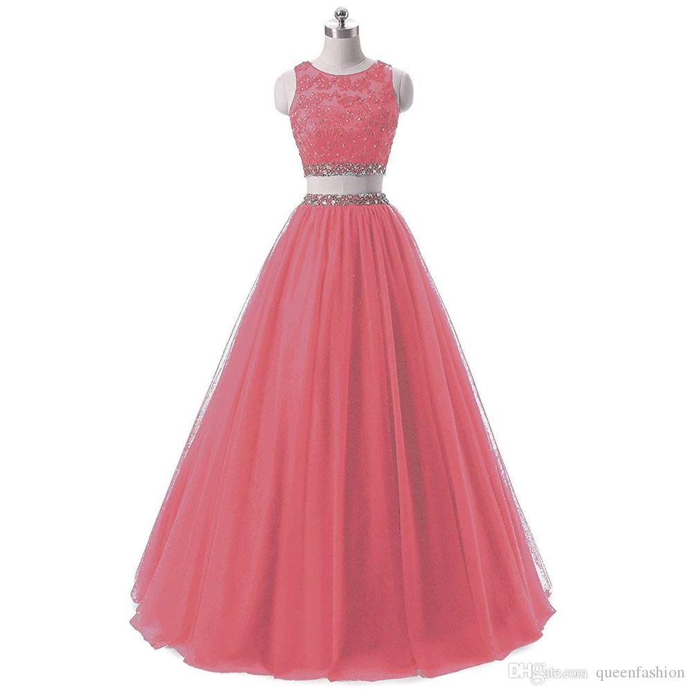 Two Pieces Pageant Prom Dresses Long Tulle Crop Top Evening Gowns Lace Beaded 2 Piece Sweet 16 Dresses 8th Grade Graduation Formal Gowns