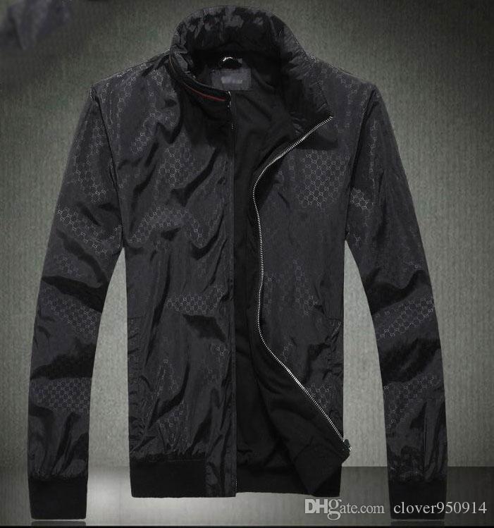Mode nouveaux sports d'hiver veste manteau hommes manches longues extérieur windrunner avec les hommes de vêtements coupe-vent fermeture éclair Collier Stand Slim