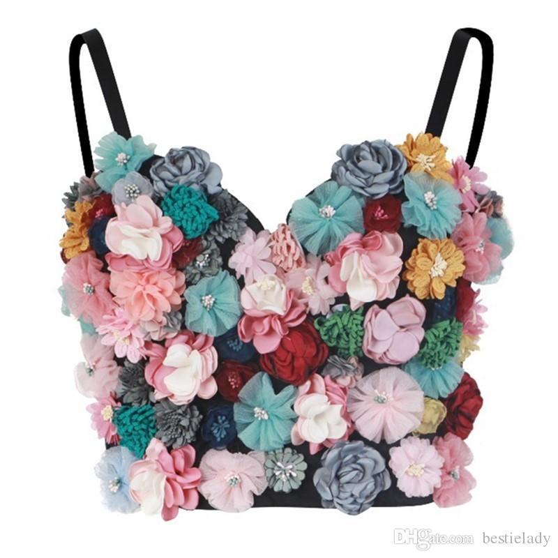 النساء ملون الزهور يزين Bralette متعدد الألوان تطريز زهري مع الأشرطة قابل للتعديل والكؤوس ثلاثي الأبعاد موضة المحاصيل الأعلى