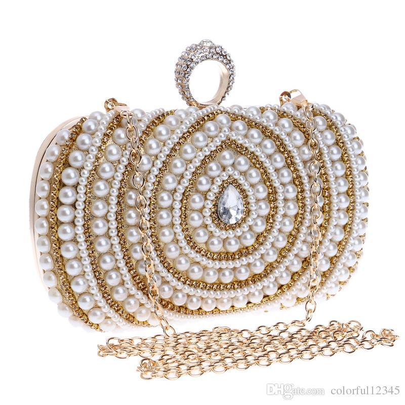 Finger Ring Women Bag Chain Shoulder Handbag Beaded Wedding Party Clutch Purse Bag