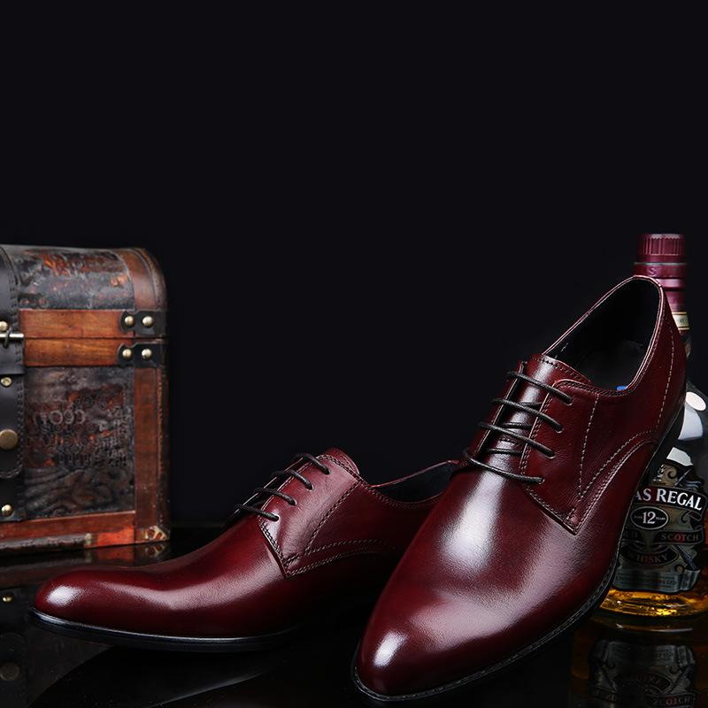 Zapatos de cuero de los hombres de cuero de los zapatos solo con cordones Ropa formal del cuero auténtico hombre de los zapatos de moda Moda Oxford Chaussure Homme