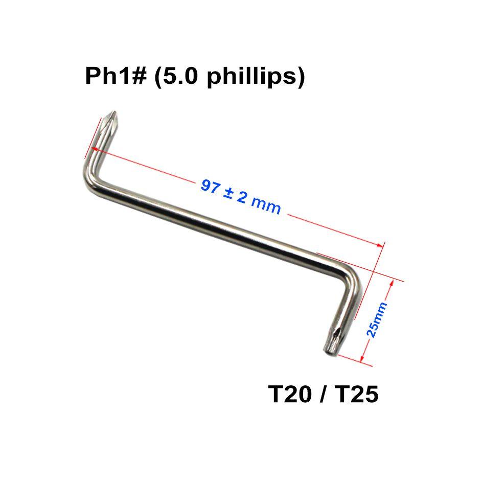 Torx T20 / T25 + 5,0 mm Phillips PH1 # Destornillador Llave con el agujero Z destornilladores para Auto Fender de coches de bricolaje reparar o sustituir Herramientas