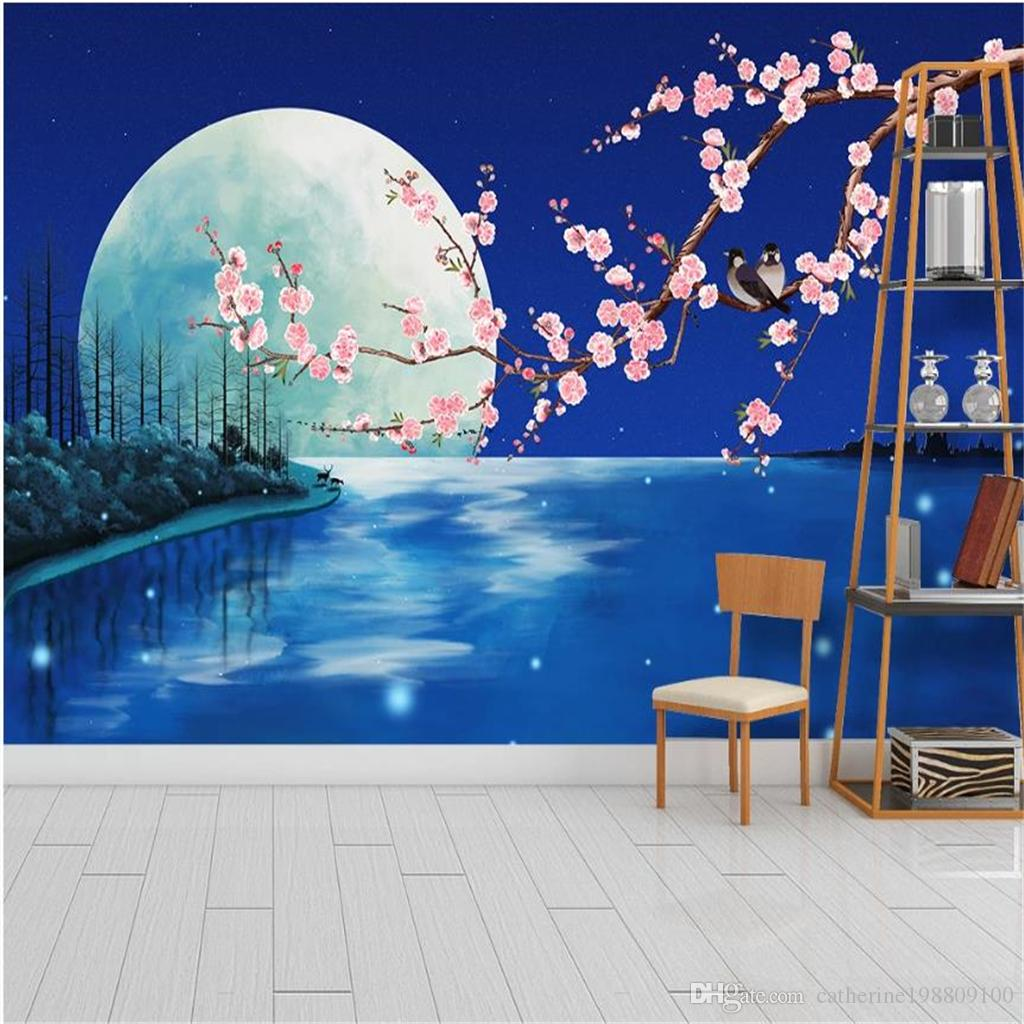 Beautiful Scenery Wallpapers Fantasy Blue Moonlight Flower And Bird Plum Background Wall Decoration Painting Hd Wallpaper Hd Wallpaper Hd Wallpaper Hd Wallpaper I From Catherine198809100 5 81 Dhgate Com