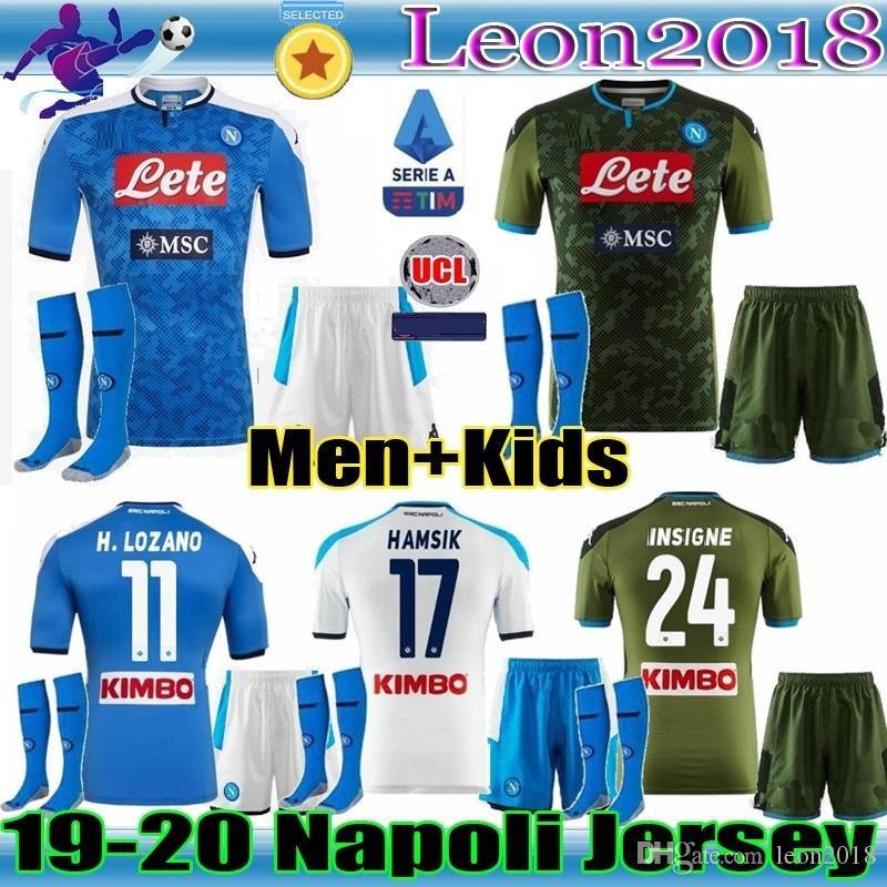 kit figli adulti 19 20 napoli calcio maglia 2019 2020 casa Napoli HAMSIK INSIGNE MERTENS CALLEJON H.LOZANO magliette da calcio giovani camicia